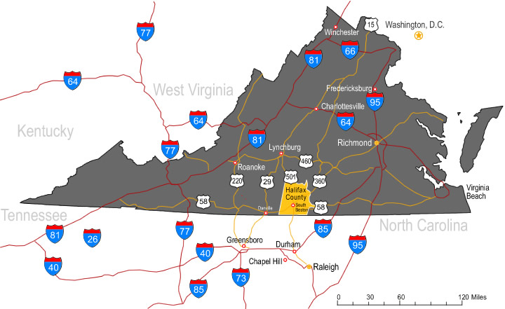 Halifax County VA highways and interstates map
